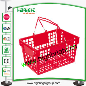 Supermarket Double Metal Handle Plastic Basket pictures & photos