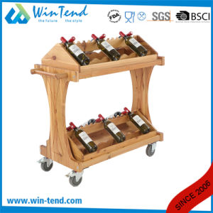New Style Wine Rack Trolley with Wooden Material for Hotel Using pictures & photos
