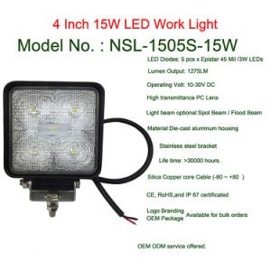Square Auto 15W LED Work Lights 4 Inch for Trucks 12V 24V Vehicles pictures & photos