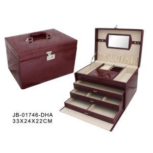 Classic Handmade Red Croco PVC Big Jewelry Box
