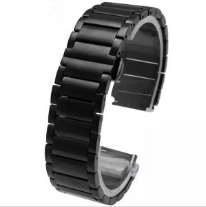 High Quality 3 Beads Metal Stainless Steel Watch Strap Band for Smart Watch Band Bracelet with Double Pushbutton Butterfly Clasp pictures & photos