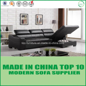 Modern Living Room Furniture Set Leather Wooden Sofa Bed pictures & photos