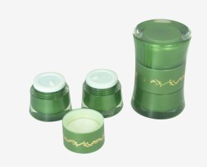Round Wais and Double Liner Cosmetic Acrylic Cream Jar pictures & photos