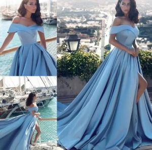 Blue Satin Prom Dress Split Sexy Evening Party Dress Ez02 pictures & photos