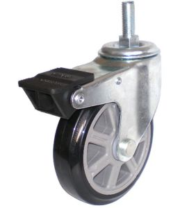 Eg01 Threaded Stem PU Caster with Dual Brake (Black) pictures & photos