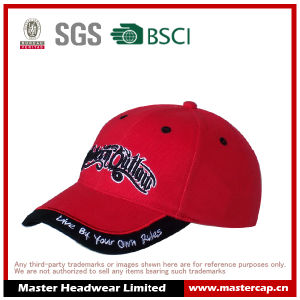 100% Cotton Red Baseball Cap with Applique Embroidery and 3D Embroidery pictures & photos