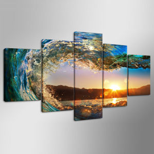 5 Panels Butterflies Waves Picture Wall Decor Print on Canvas Oil Painting Canvas Painting for Christmas Gift Mc-161 pictures & photos