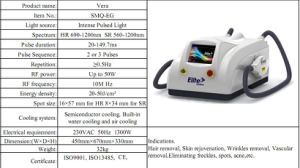 E-Light System Skin Rejuvenation Hair Removal Beauty Machine Smq-Eg pictures & photos