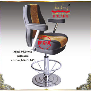 Casino Chair Mod. 952 With Armrest Chrome Footrest (BLK-FN145)