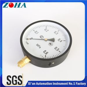 "Radial Connection Black Steel Case Commercial Pressure Meters with Pressure 0.6MPa Thread 1/2"" Diameter 4 Inch 6 Inch pictures & photos"
