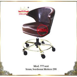 Poker Chairs No 777 Seat Brass, Bordeaux Molero 290