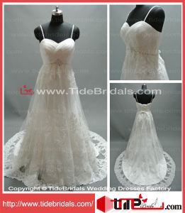 Elegant A-Line Sweetheart Spaghetti Straps Lace Bridal Gown Wedding Dress (AS1064B)