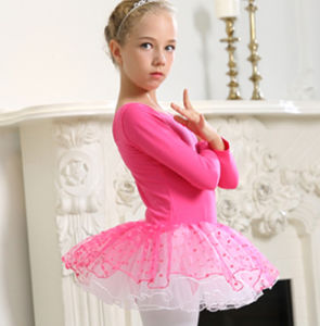 Rose Red Ballet Children Dance Costumes Bitter Fleabane Skirt Short Sleeve of Shirt pictures & photos