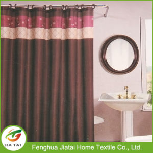 Cheap 100% Polyester Brown Bathroom Shower Curtain Sets pictures & photos