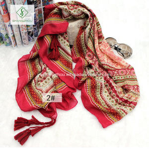 Chinese Style Long Geometric Beach Shawl Lady Fashion Scarf pictures & photos
