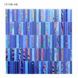 Building Manufacturers Hand Cutting Bathroom Blue Tile Glass Mosaic pictures & photos