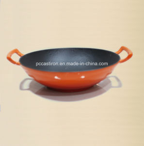 Enamel Cast Iron Wok Cookware with Wooden Cover Dia 36cm pictures & photos
