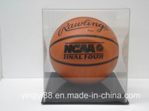 Clear Basketball Display Case Acrylic Solid Black Base pictures & photos