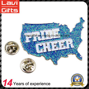 New Promotion Metal Engraved Pin Badge with Glitter Powder pictures & photos