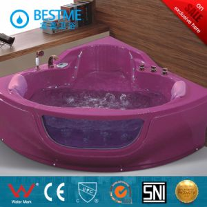 Top Quality Corner Crystal Pink Indoor Massage Bathtub (BT-A325) pictures & photos