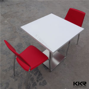 Artificial Stone Square White Solid Surface Restaurant Tables pictures & photos
