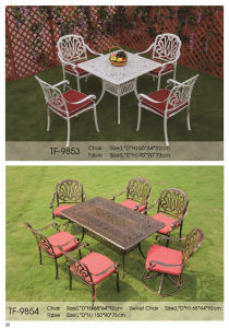 Outdoor 7-Piece Rectangle Bronze Cast Aluminum Dining Set