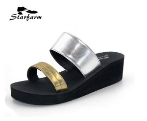 Metallic Silver PU Women Sandals for Promotion pictures & photos