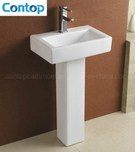 Sanitary Ware Bathroom Ceramic Back to Wall Pedestal Basin pictures & photos