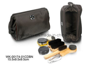 Classic Black Leather Small Zipper Shoe Care Kit for Travelling pictures & photos