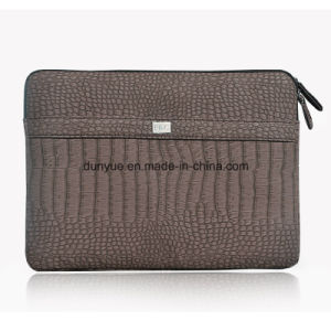 Factory Price Eco-Friendly Croco Grain PU Leather Laptop Sleeve, Velvet Lining Laptop Bag/iPad Case with Zipper