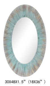 China Made 100% Handpainted Oval Planked Wood Mirror (item#436096) pictures & photos