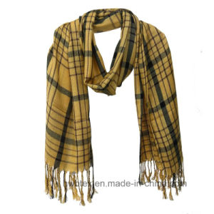 Color Interwoven Check Viscose Sawl / Fashion Scarf (HWBS031) pictures & photos
