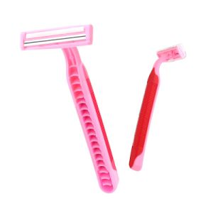 Rubber Handle Twin Blade Women Disposable Razor