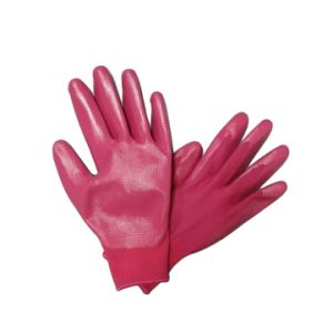 Colorful Garden Gloves Pink Nitrile Palm Coated Work Glove pictures & photos