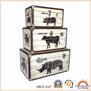 Antique Nesting PU Print with Farm Anmials Pattern Storage Trunk Wooden Gift Box with Multi Colors pictures & photos
