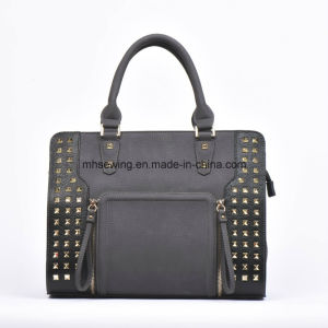 Good Quality PU Tote Bag Shoulder Bag with Rivets on Front pictures & photos