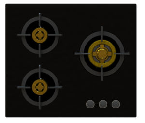Supreme Unique 3 Brass Burner Gas Stove (8mm Glass)