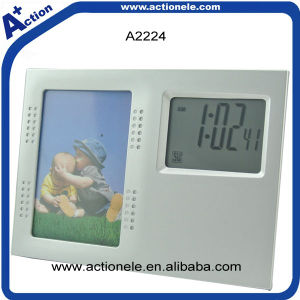 Promotional Photo Frame Digital Time Alarm Clock pictures & photos