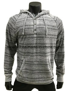 Striped Printed Grey Hoody Sweatshirt for Men with Burn out pictures & photos