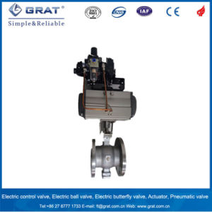 ASTM Flange Type Double Action Pneumatic Ball Valve with 4-20mA Output Signal Positioner pictures & photos