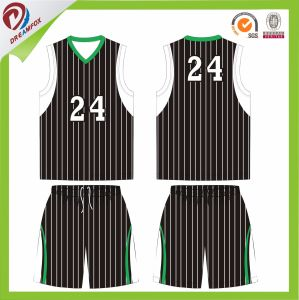 Sublimated Blue Green Black Stripe Basketball Jersey and Shorts pictures & photos