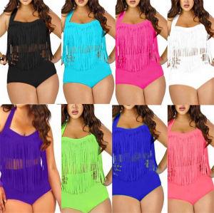 Plus Size High Waist Tassel Swimwear (53046) pictures & photos