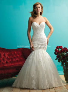 Ivory Lace-up Bridal Gown off-Shoulder Wedding Dress pictures & photos