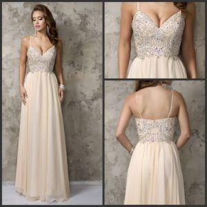 Champagne Prom Party Cocktail Gowns Customized Beading Evening Dress Nc1236 pictures & photos