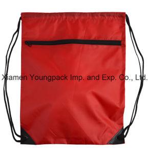 Zipper Front Pocket Promotional Custom Waterproof 210d Nylon Drawstring Bag pictures & photos
