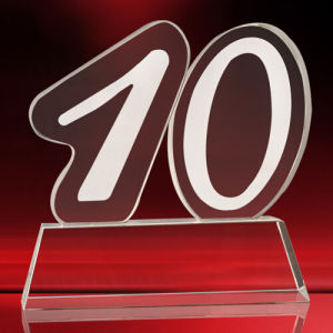 Number Model Crystal Glass Trophy for Souvenir pictures & photos