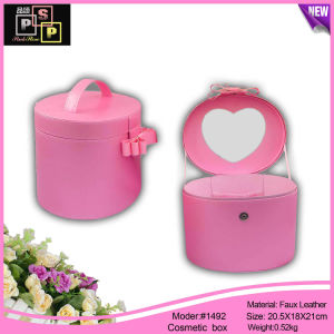 PU Leather Mirror Zipper Closure Design Promotional Cosmetic Storage Box pictures & photos