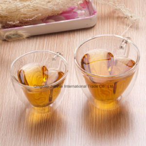 180ml New Design Heart Shape Glass Double Wall Cup pictures & photos