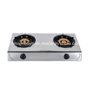 2 Burners Stainless Steel 100-120 Brass Burner Cap Gas Cooker/Gas Stove pictures & photos