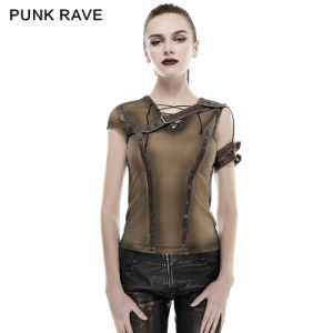 T-433 Steampunk Armor Shoulder Do Old T-Shirt PU45% Leather55% Top Tee Khaki Shirts pictures & photos